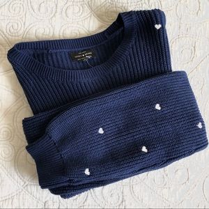 Lucky Brand | Heart Embroidered Navy Sweater NWT